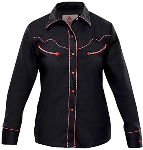 Modestone Women's Long Sleeved Western Camisa Vaquera Dotted Piping Black