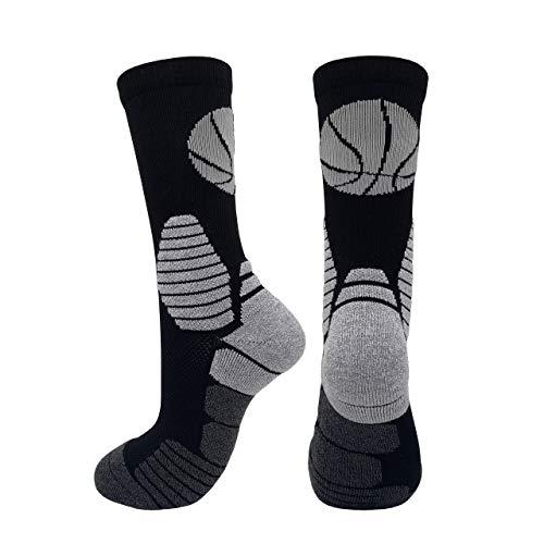 - HIGHCAMP Elite Basketball Socks for Men Women Youth Boys Girls Athletic Sports Crew Socks (Black/Grey X 2PK, XL)
