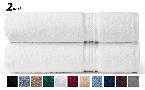 Cotton Craft – 2 Pack Ultra Soft Oversized Extra Large Bath Sheet 35×70 White – Weighs 33 Ounces – 100% Pure Ringspun Cotton – Luxurious Rayon trim – Ideal for everyday use – Easy care machine wash