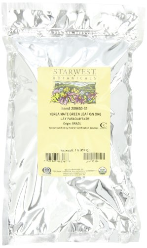 Starwest Botanicals Organic Green Yerba Mate'  Leaf Cut, 1-pound Bag