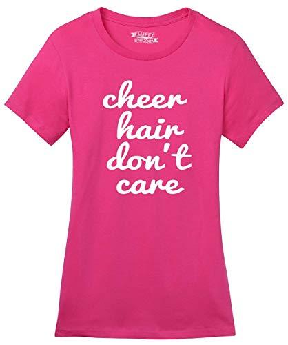 Ladies Soft Tee Cheer Hair Don't Care Dark Fuchsia 2XL