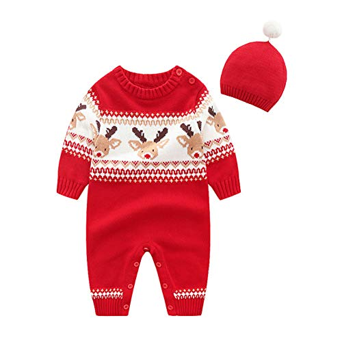 Fairy Baby Infant Baby Boy Girl 2Pcs Christmas Outfit Knit Sweater Jumpsuit Costume Set Size 3-6M (Red Deer Head) -