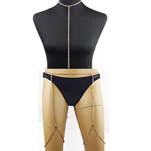 Geqian1982 Boho Leg Chains Summer Beach Thigh Chain Fashion Body Jewelry for Women Choker Necklace Set of 2