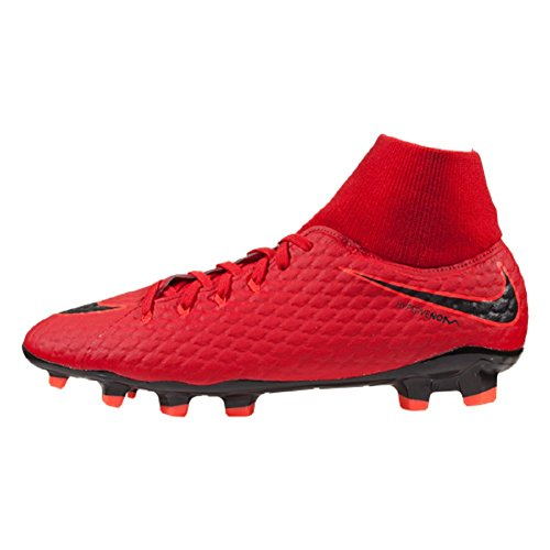 Nike Hypervenom Phelon III DF FG Soccer Cleats-Red Black Size: 11.5