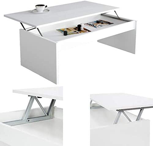 HABITMOBEL Mesa DE Centro ELEVABLE Color Blanco Brillo: Amazon.es: Hogar