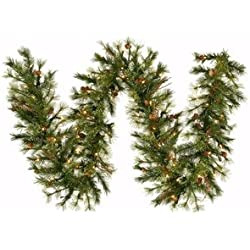 """Vickerman 9' x 12"""" Mixed Country Pine Garland with 70 Clear lights"""