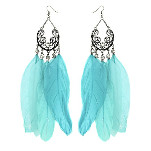 Lux Accessories Birds Of A Feather Flock Together Light Blue Crystal Elegant Statement Earrings