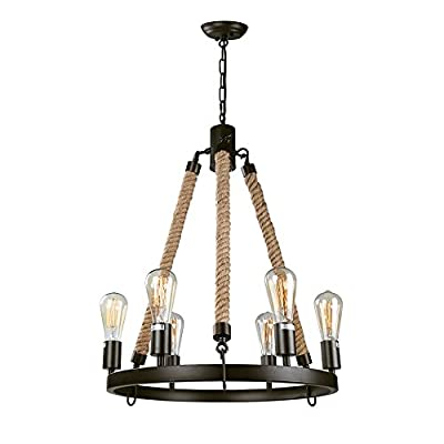 """LNC Farmhouse Chandeliers Rustic Round Wagon Wheel 6-Light Fixture with Rope for Dining & Living Room, Bedroom and Foyer - [Striking Farmhouse Chandelier] This eye-catching wagon wheel chandelier with an openwork round metal frame and three natural ropes, presents a classic yet contemporary farmhouse aesthetics. It transforms natural rope from a functional material to a unique decorative element, adding color and texture that contrasts nicely with the circular metalwork with dark black accents. It's a great option to make an impression in a dining room, entry hall, living room and bedrooms as well as foyer and kitchen [Ideal Dimensions] This elegant luminary is 20 1/2"""" in diameter X 25"""" in height, making its size perfect for any of your rooms. The canopy comes in a standard 5"""" in diameter and 1"""" in height, designed to fully cover the standard size of the junction box. It comes with a 59"""" height adjustable chain giving you the option of adjusting height between 29"""" and 85"""" from ceiling to bottom based on your need (It includes 10ft cords for higher ceiling, please contact us to buy extra chain) [Quick Installation] Simple round metal frames make the installation easier than you think! All you need to do is adjusting the length of chain for proper height, connecting the rope arms and round fixture body, threading the wire through the chain and canopy, wiring (ground: copper wire; Live: with printed character; Neutral: no printed character) and then screwing in the bulbs. The whole installation will take no more than 30 minutes! This wagon wheel also works on sloped, slanted or vaulted ceiling - kitchen-dining-room-decor, kitchen-dining-room, chandeliers-lighting - 41EHX3GY5uL. SS400  -"""