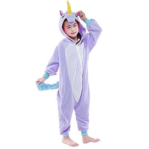 Newcosplay Homewear Childrens Unicorn Pajamas Sleeping Wear Animal Onesies Cosplay Costume (115#, Purple Unicorn)