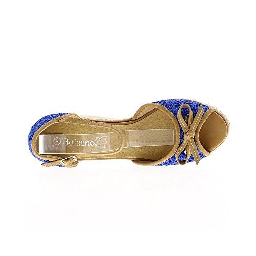 Sandales bleues dentelle à talon compensé de 10cm et plateforme