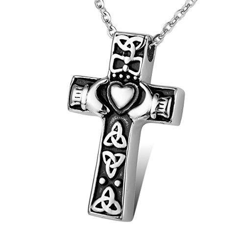 HOUSWEETY Stainless Steel Claddagh Celtic Knot Cross urn Pendant Necklace Memorial Ash Keepsake Cremation Jewelry Black (Claddagh Keepsake)