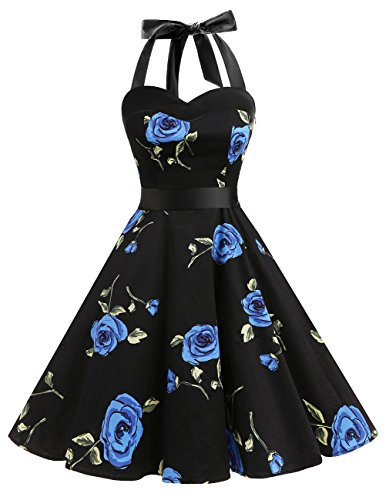 DRESSTELLS 50s Retro Halter Rockabilly Polka Dots Audrey Dress Cocktail Dress Blue Flower S]()