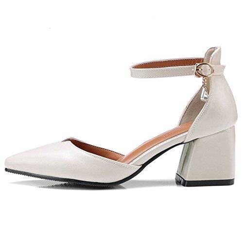 Coolcept D'été Les De Bureau Beige Chaussures Bloc Talon Femmes Blanc ZvRq65