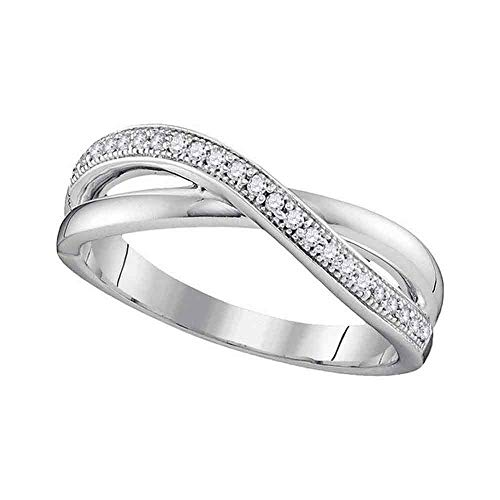 Jewel Tie Size - 7.5-10k White Gold Diamond Micro Pave Set Curved CrossOver Wedding Band OR Fashion Ring (.14 cttw.)