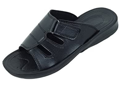 Men's Slip on Slides Summer Sandals Fashion Shoes #5230 (7, Black)