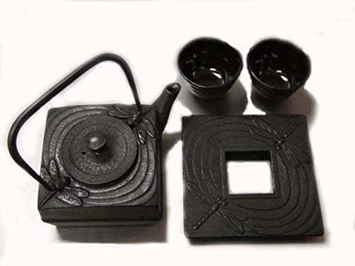 (JapanBargain S-2089 Square Cast Iron Dragonfly Tea Set,)