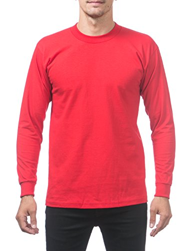 - Pro Club Men's Heavyweight Cotton Long Sleeve Crew Neck T-Shirt, Large/Tall, Red