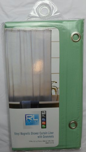 RL Plastics 100 Vinyl Jade Magnetic Shower Curtain Liner With Grommets Mildew And Water