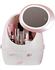 Hd Mirror Makeup Storage Box, Rotating LED Makeup Organiser, Egg Shaped Makeup Organizer with LED Mirror, 360° Rotate Cover, Stepless Light Adjustment