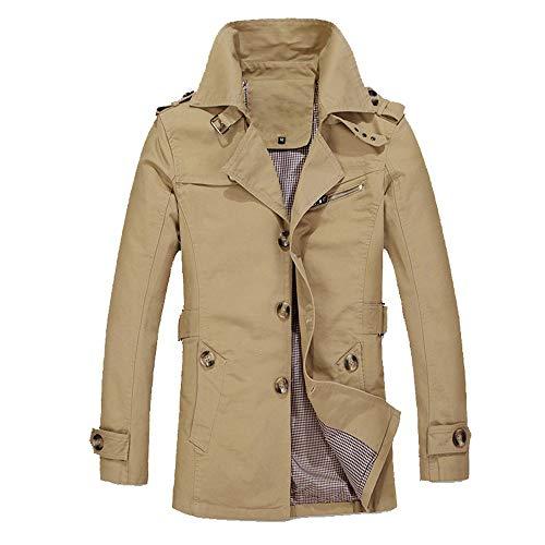 Mens Jacket Godathe Men Winter Warm Jacket Overcoat Outwear Slim Long Trench Buttons Coat M-XXXXXL