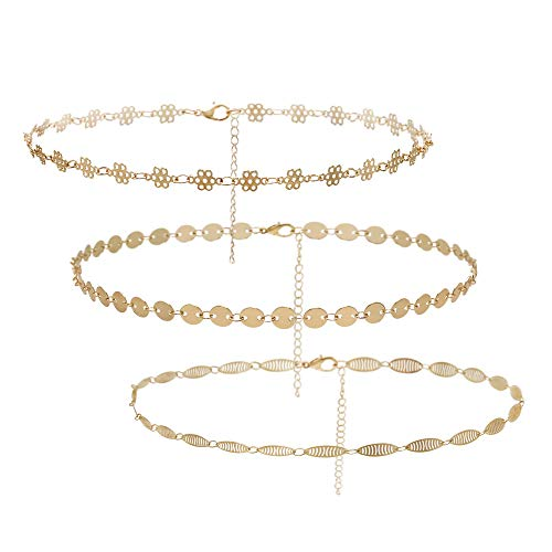 (So Pretty Dainty Sequins Gold Choker Necklace Layered Hollow Flower Coin Boho Chain Choker Set for Women Girls)