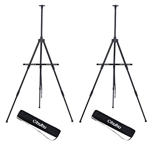 "Display Easel Stand, Ohuhu 73"" Aluminum Metal Tripod Field Easel with Bag for Table-Top/Floor, 2-Pack Black Art Easels W/Adjustable Height from 25-73"" For Poster, Displaying, Drawing and Paint from Ohuhu"