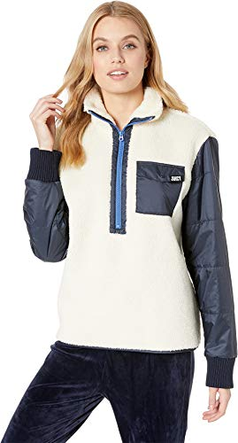 Juicy Couture Zip (Juicy Couture Women's Sherpa and Nylon Mixed Embroidered Jacket Bleached Bone/Regal Medium)