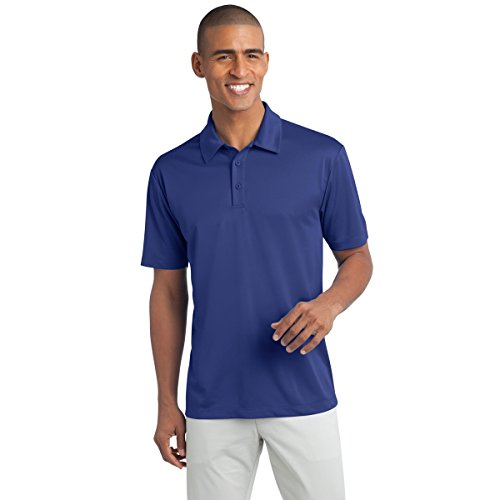 Mens Short Sleeve Moisture Wicking Silk Touch Polo Shirt, L, Royal