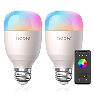 Nooie Smart LED Bulbs WiFi E26 Multicolor Bulb Compatible with Alexa,Google Home,A19 10W 800LM 2800K-6000K RGB Color Changing Bulb with Schedule &Timer 2.4GHz WiFi UL Listed (No Hub Required)