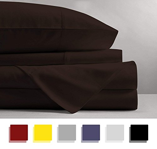 - 600 Thread Count 4-Piece 100% Cotton Sheets - Chocolate Long-staple Cotton Cal-King Sheets, Fits Mattress Upto 15'' Deep Pocket, Sateen, Soft Cotton Bed Sheets and Pillowcases Solid