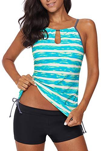 REKITA Womens Stripe Printed Tankini Top with Boyshort Swimsuits Bathing Suits Green