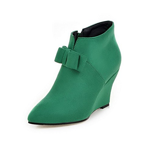AgooLar Women's Zipper Pointed Closed Toe High-Heels Imitated Suede Ankle-high Boots Green