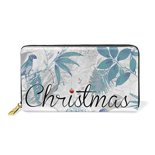Christmas-Time-Fullscreen Genuine Leather Wallet Case Credit Card Holder Travel Purse With Zipper Pocket For Women ()