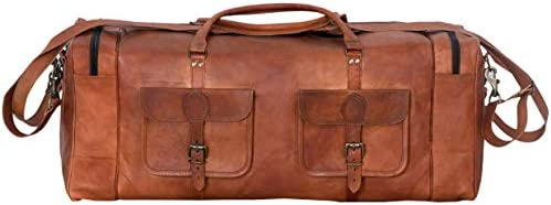 Leather Duffel Bag 32 inch Large Travel Bag Gym Sports Overnight Weekender Bag by Komal s Passion Leather (30 inch)