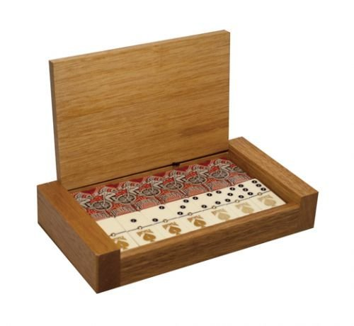 Jumbo Domino Double Six Bicycle Card Back - Deluxe Wood Case by Marion & Co