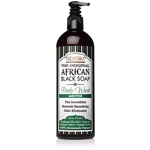 Shea Terra Organics African Black Soap Body Wash | Natural Skin Care for Acne, Eczema, Dry Skin, Psoriasis, Wrinkles, and More - Home Spa Treatment Full Body Wash - 16 oz (Menthe)
