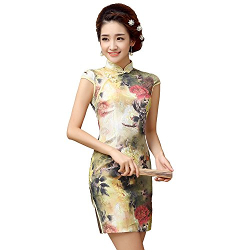 EXCELLANYARD Women's Cotton Chinese Qipao Cheongsam Dress 2 (Chinese Chinese Dress Dresses)