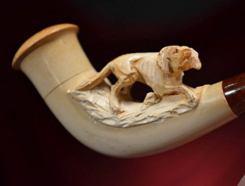 ANTIQUE Carved Dog MEERSCHAUM PIPE, Good Condition, Ivory Color, CASE, Label