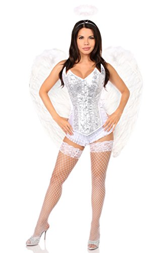 Daisy Corsets Women's Top Drawer 4 Pc Sweet Angel Corset Costume, Silver, Small -