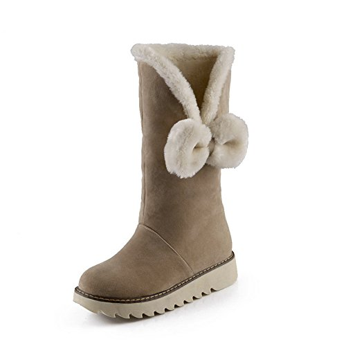 A&N Womens Platform Spun Gold Bowknot Anti-Skidding Bottom Frosted Boots Beige wjwL44r