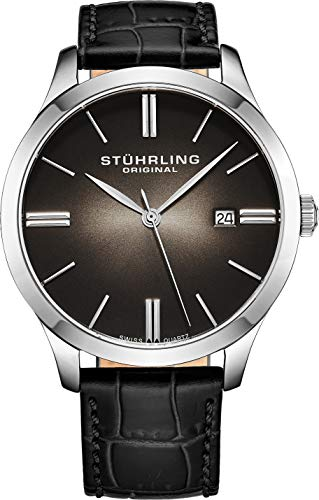 Stuhrling Original Classic Cuvette II Mens Black Watch - Swiss Quartz Analog Date Wrist Watch for Men - Stainless Steel Mens Designer Watch with Black Leather Strap 490.33151