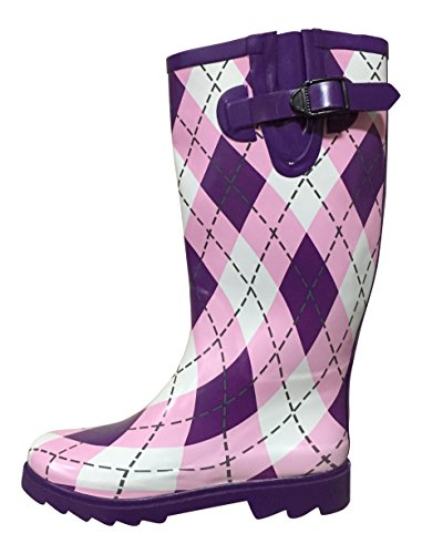 PSW Womens MSTKH Rubber Rain Boots Purple/Pink Diamond Plaid sOqrikH