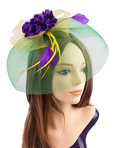 Hats Trucker Wedding Anniversary - JAWEAVER Mardi Gras Floral Fascinator Mesh Hats Kentucky Derby Headband with Clip for Women (C Mardi Gras Large)