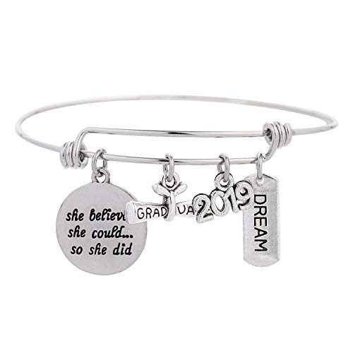 - Class of 2019 Graduation Jewelry Inspirational Gift She Believed She Could So She Did with Graduate Diploma & Cap Charm Engraved Bangle for Teen Girls Women (she belived she could so she did(B))