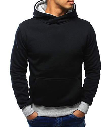 Nanquan Men Hipster Hip Hop Cowl Neck Slim Fit Pullover Hooded Sweatshirt Black US ()