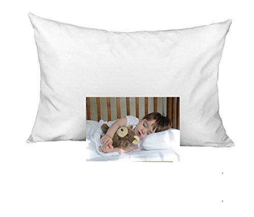 KP Linen 2 Set Kids Toddler Travel Pillow Cases 100% Egyptian Cotton - Pillows Sized 14'' x 20'', Zipper Closure White Solid