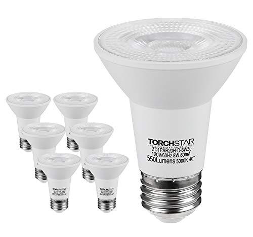 TORCHSTAR LED Light Bulb PAR20, Dimmable 8W 50W Eqv. High CRI90 Flood Light, Damp Location, 5000K Daylight, E26 Medium Screw Base, 3 YEARS WARRANTY, Pack of 6