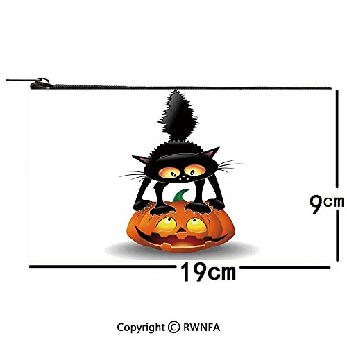 Bd Humour Halloween (Pencil Bag Pen Case,Halloween Decorations,Black Cat on Pumpkin Spooky Cartoon Characters Halloween Humor Art,Orange Black 7.5x3.5inch,Pouch Zipper Bag for Pens,)