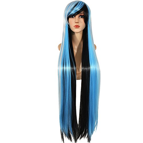 Ecvtop Fashion Cosplay 40inch Long Curly Hair Wig ,100cm Anime Costume Long Straight Wigs ,Black Gray (Curly Blue Wig)