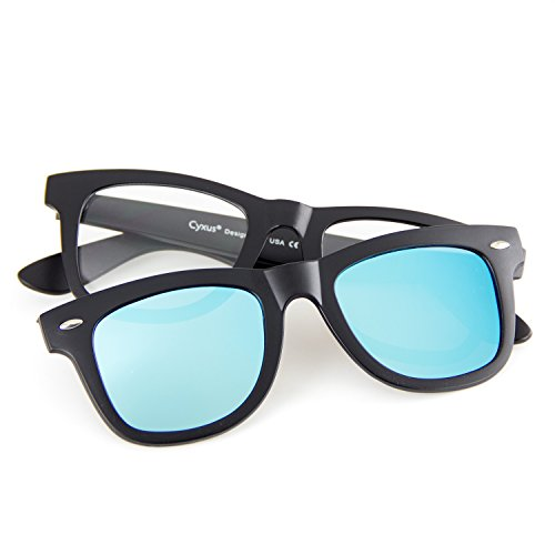 Cyxus [Two in One SET] Blue Light Blocking Glasses with Clip On Polarized Sunglasses, Retro Lightweight Frame Men/Women (Blue - Not Polarised Or